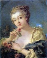 Юная женщина с букетом из роз ()