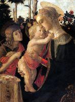Мадонна с младенцем и юным Иоанном Крест. в розовом саду (1470-1475) (93 x 69) (Париж, Лувр)