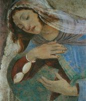 Благовещение (1481) (243 x 555) (Флоренция, Уффици)_деталь. Дева Мария