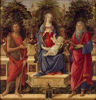 Мадонна Барди, слева- Иоанн Крест., справа- Иоанн Богосл. (1484) (185 х 180) (Берлин, Гос.музей)