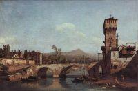 Венецианское каприччио- река, мост и средневековые городские ворота (1740