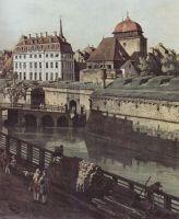 Вид Дрездена, крепостные укрепления в Дрездене, крепостной ров с мостом, Деталь (1750)