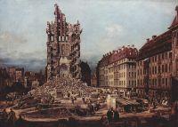 Вид Дрездена, руины церкви Воздвижения, вид с востока (1765)