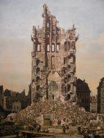Вид Дрездена, руины церкви Воздвижения, вид с востока. Деталь (1765)