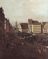 Вид Дрездена, старый рынок со стороны Морского переулка. Деталь (1751)