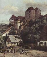 Вид Пирны с южной стороны. Крепостные укрепления и Верхние (городские) ворота, а также крепость Зонн (1755)