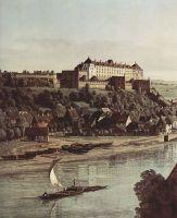 Вид Пирны, Пирна со стороны виноградников близ Просто, с крепостью Зонненшайн. Деталь (1755)