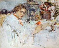 За самоваром. Портрет О.М.Ясеневой (1913)