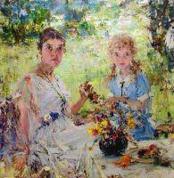 Лето (Портрет А.Н.Фешиной с дочерью Ией) (1924)