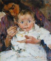 Мать и дитя (Портрет А.Н.Фешиной с дочерью) (1914)
