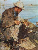 Отец на рыбалке. Этюд (1913)