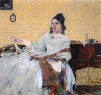 Портрет Н.М.Сапожниковой (на фоне обоев) (1916)