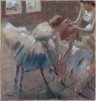 Три танцовщицы готовятся к занятиям (после 1878) (54.6 х 52.1) (Нью-Йорк, Метрополитен)