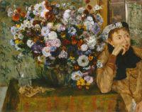 Женщина, сидящая рядом с вазой с хризантемами (1865) (73.7 х 92.7) (Нью-Йорк, Музей Мктрополитен)