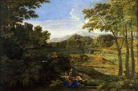 Пейзаж с двумя нимфами и змеёй (ок.1659) (118 х 179) (Шантийи, музей Конде)