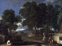 Пейзаж с мужчиной, моющим свои ноги в фонтане  (ок.1648) (Лондон, Нац. галерея)