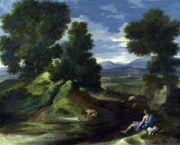 Пейзаж с мужчиной, черпающим воду из потока (ок.1637) (Лондон, Нац. галерея)