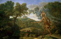 Пейзаж со слепым Орионом ищущим Восходящее Солнце (1658) (119,1 х 182,9 см) (Нью-Йорк, Метрополитен).