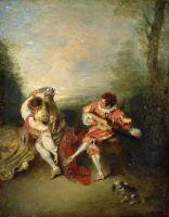 Любовная пара и менестрель с гитарой (1713-1715) (36.3 x 28.2) (частная коллекция) (оценоч.стоимость 24 млн. долларов)