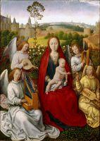 Мадонна с младенцем и музицирующими ангелами (1480) (40 x 29) (Мюнхен, Старая пинакотека)