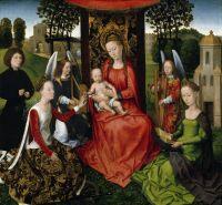 Мадонна с младенцем на троне + св.Екатерина, св.Варвара и донатор (1480-1483) (67 x 72.1) (Нью-Йорк, Метрополитен)