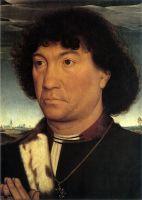 Портрет молящегося на фоне пейзажа (внешняя сторона) (ок.1480) (30,1 x 22,3) (Гаага, Королевская галерея Маурицхёйс)