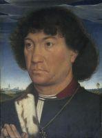 Портрет молящегося на фоне пейзажа (внешняя сторона) (ок.1480) (30,1 x 22,3) (Гаага, Королевская галерея Маурицхёйс).