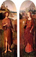 Св.Иоанн Креститель + св.Мария Магдалина (створки триптиха, 48 х 16 - каждая) (Париж, Лувр)