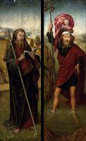 Створки несохранившегося триптиха. Св.Иаков Старший + св.Христофор (1470-1475) (68.5 x 22.4 - обе) (частная коллекция)
