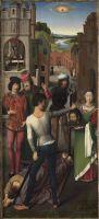 Триптих св.Иоанна Крестителя и св.Иоанна Богослова (1474-1479) (открыт). Левая панель. Усекновение глаы св.Иоанна Крестителя
