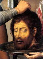 Триптих св.Иоанна Крестителя и св.Иоанна Богослова (1474-1479) (открыт). Левая панель_Деталь. Голова св.Иоанна Крестителя