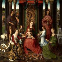 Триптих св.Иоанна Крестителя и св.Иоанна Богослова (1474-1479) (открыт). Центральная панель. Мистический брак св.Екатерины (172 х 172)
