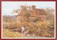Девушка у ручья перед домом
