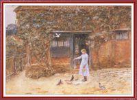 Девочка с голубями у коттеджа