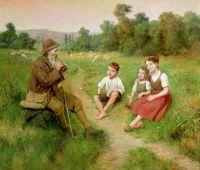 Дети слушают пастуха, играющего на флейте