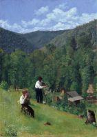 Фермер и его сын во время сбора урожая