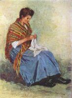 Женщина за шитьём