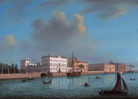 Вид на понтонный мост от Летнего сада до Мраморного дворца и его окрестностей в Санкт-Петербурге