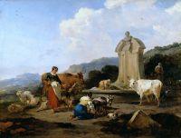 Крестьяне с домашним скотом у древнеримского источника