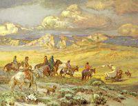 Дружественные индейцы сопровождают фургон колонистов