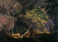 Горный пейзаж с монахом
