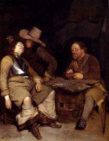 Интерьер караульной с солдатом, пускающим дым в лицо спящего собрата по оружию