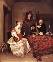 Женщина, играющая на теорбо для двух мужчин