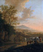 Итальянский пейзаж с повозкой, запряженной быком