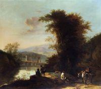 Итальянский пейзаж с путниками и мостом