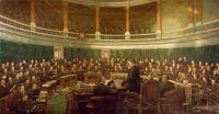 Первое заседание Совета Лондонского графства в Каунти Холл Сприн Гарденс в 1899 году