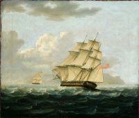 Британский фрегат в погоне за французским фрегатом