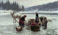 Женщины стирают бельё в проруби