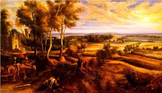 Осенний пейзаж у замка Стэн.копия Рубенса.худ.С.Минаев