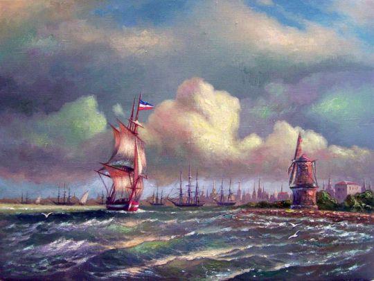 Вид Амстердама с моря.
